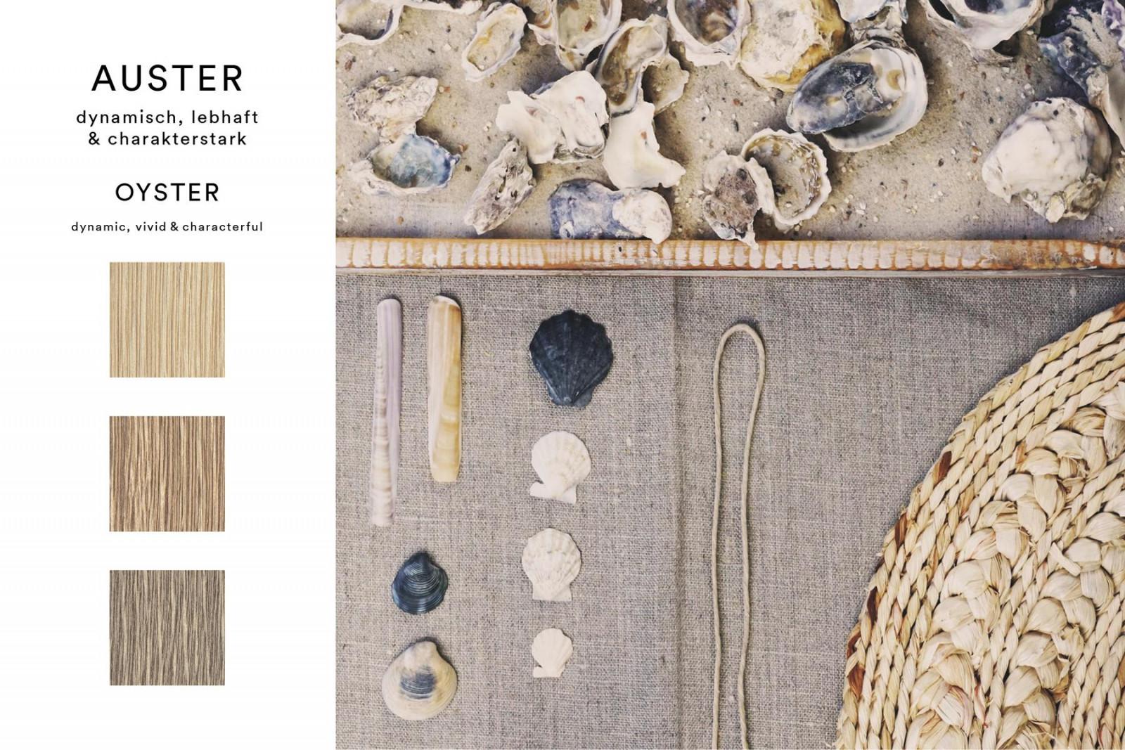 Auf einer einzelnen Austernschale spielen kräftige Grau- und Brauntöne auf engstem Raum mit Pastelltönen. Innerhalb der Farbfamilie findet sich dieses kontrastreiche Spiel zwischen den markanten, partiell eingesetzten, Weißpigmenten und dem ursprünglichen Holzfarbton wieder.