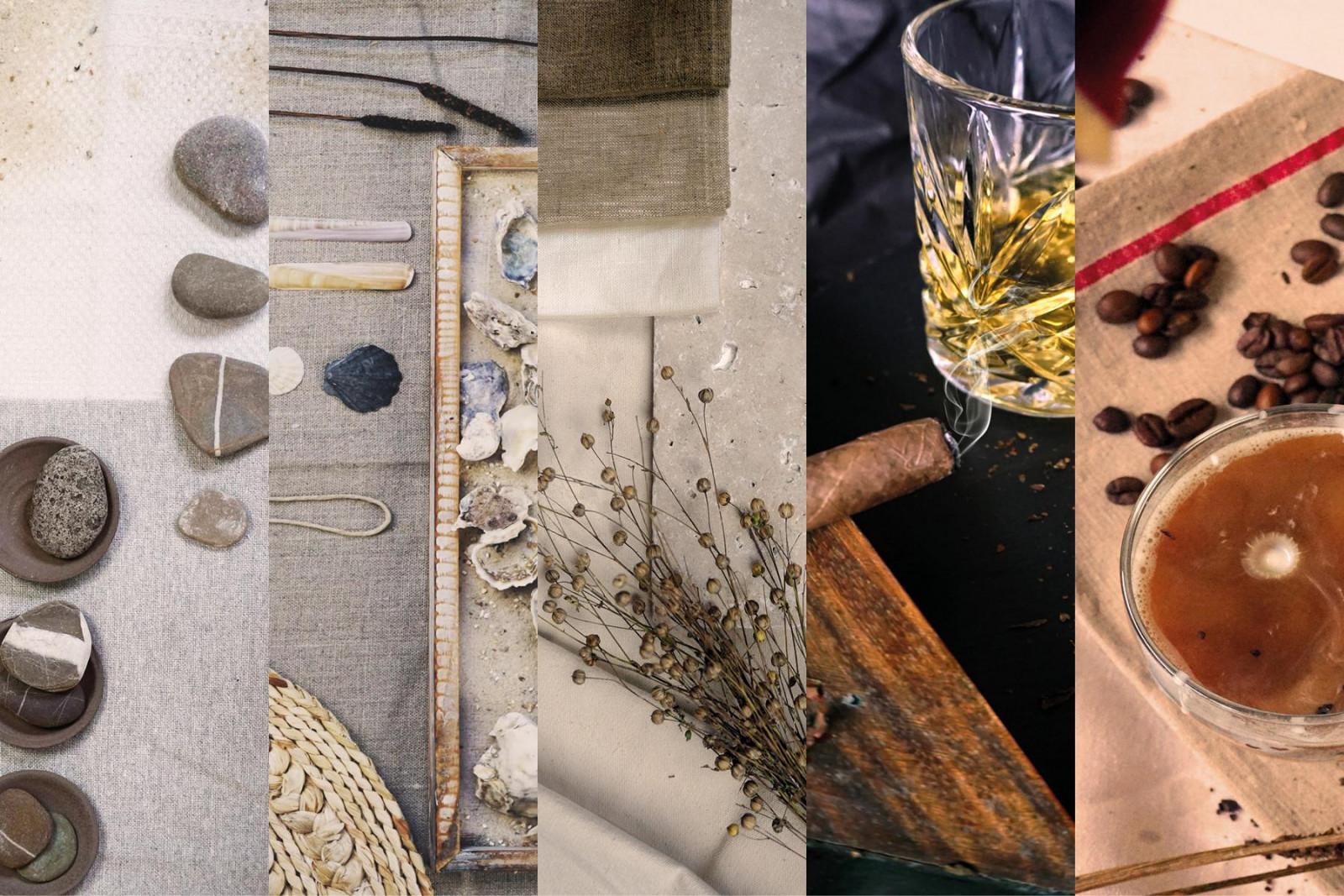 <strong>Flusskiesel, Auster, Leinen, Rauch, Mokka</strong> heißen die fünf Farbfamilien der Eiche Edition 21.