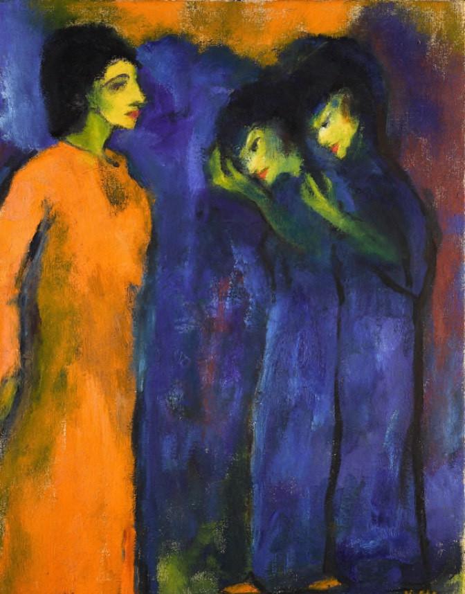 Emil Nolde, Die Huldigung, 1947, Öl auf Leinwand © Galerie Ludorff